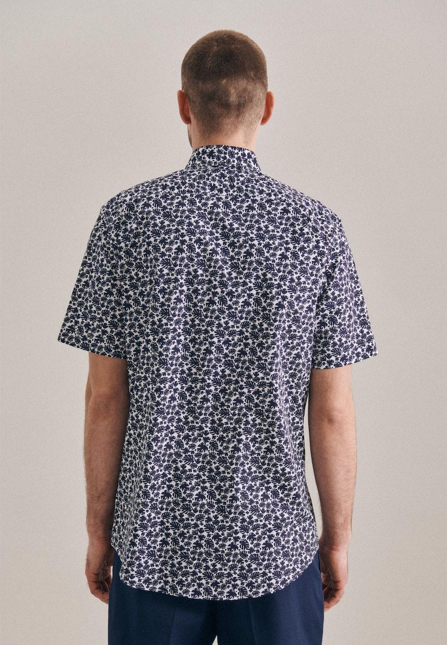 Easy-iron Popeline Short sleeve Business Shirt in Regular with Kent-Collar in Dark blue |  Seidensticker Onlineshop