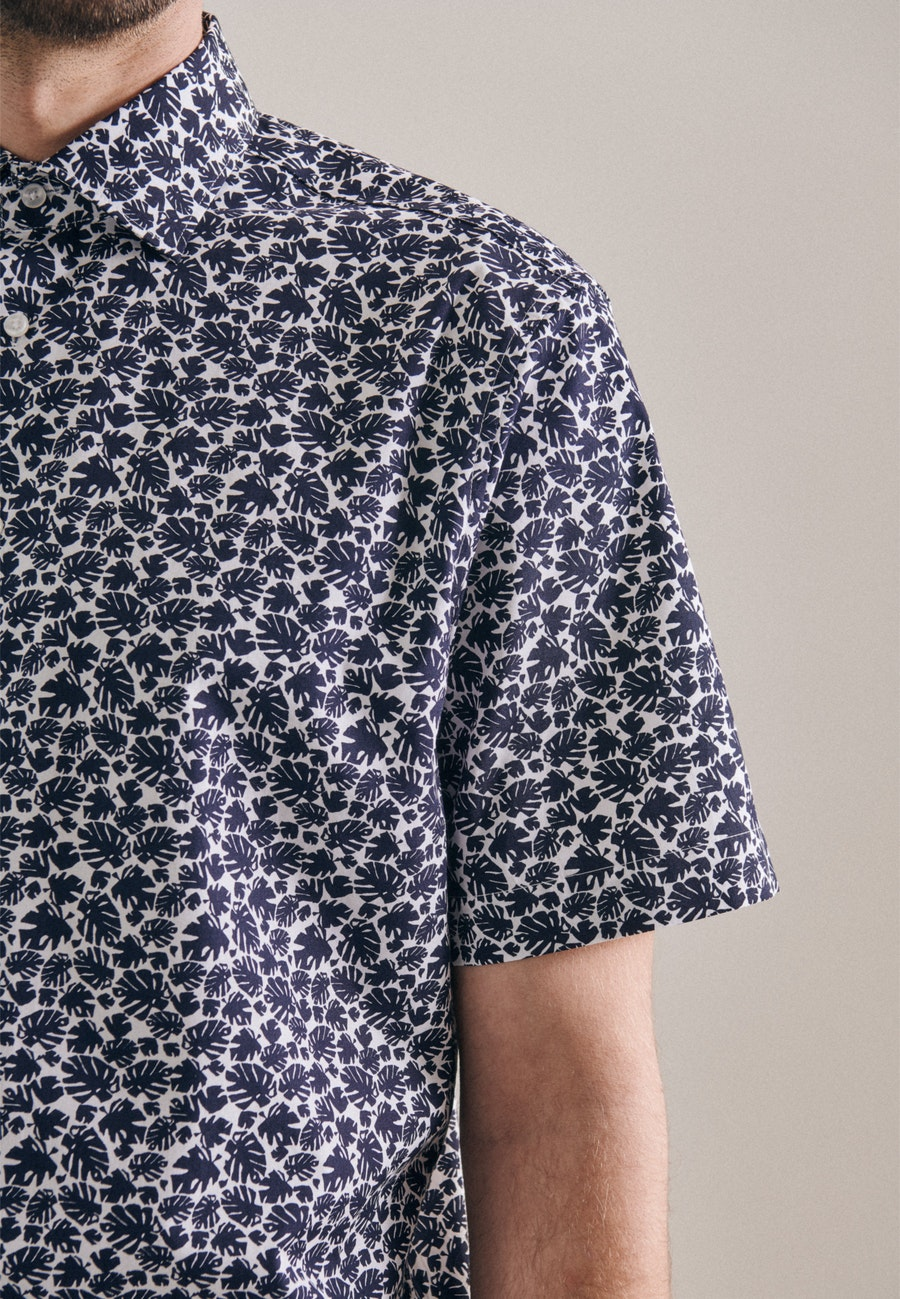 Bügelleichtes Popeline Kurzarm Business Hemd in Regular mit Kentkragen in Dunkelblau |  Seidensticker Onlineshop