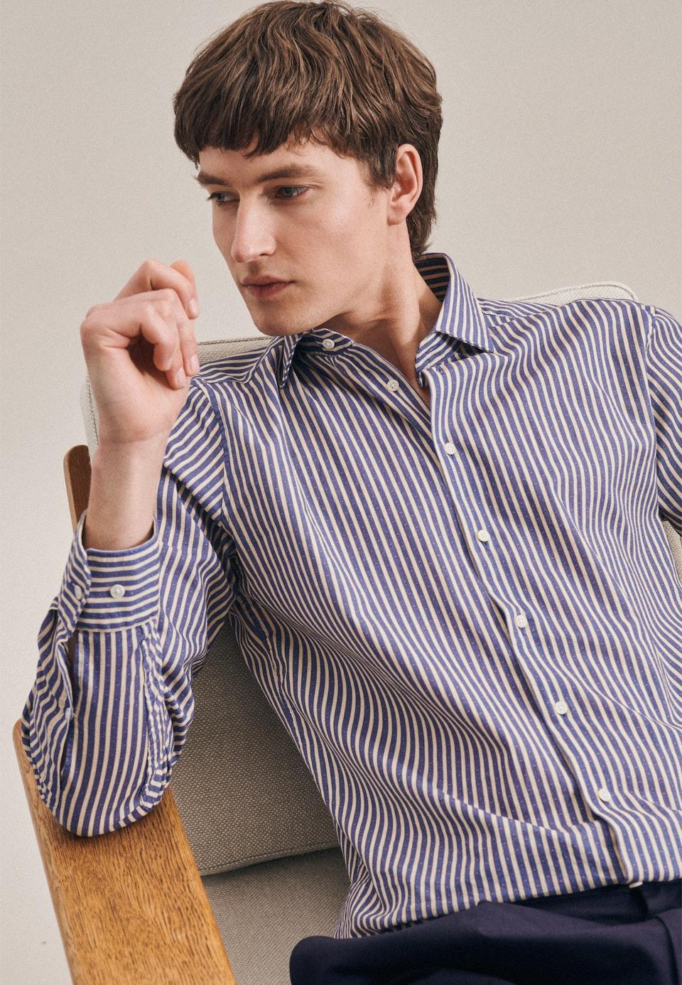 Linen Linen shirt in Regular with Kent-Collar in Medium blue |  Seidensticker Onlineshop