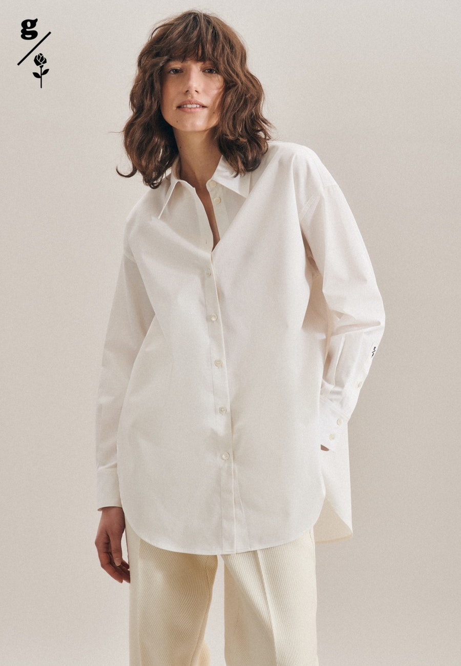 Twill Long Blouse made of 100% Cotton in Ecru |  Seidensticker Onlineshop