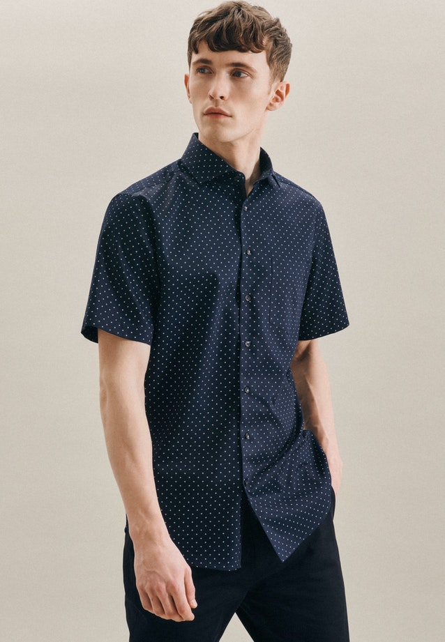 Easy-iron Twill Short sleeve Business Shirt in Regular with Kent-Collar in Dark blue |  Seidensticker Onlineshop