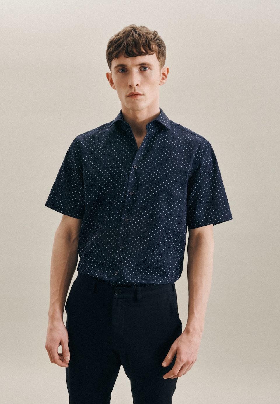 Easy-iron Twill Short sleeve Business Shirt in Regular with Kent-Collar in Dark blue    Seidensticker Onlineshop