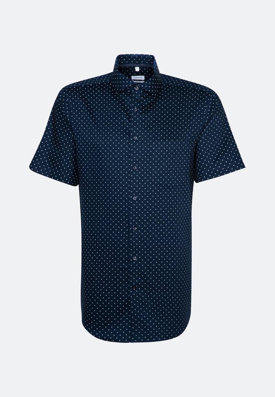 Bügelleichtes Twill Kurzarm Business Hemd in Regular mit Kentkragen in Dunkelblau |  Seidensticker Onlineshop