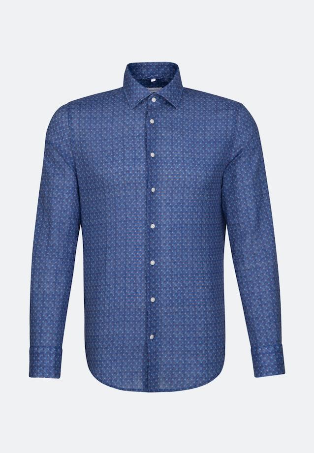 Bügelleichtes Leinen Business Hemd in Shaped mit Kentkragen in Mittelblau |  Seidensticker Onlineshop