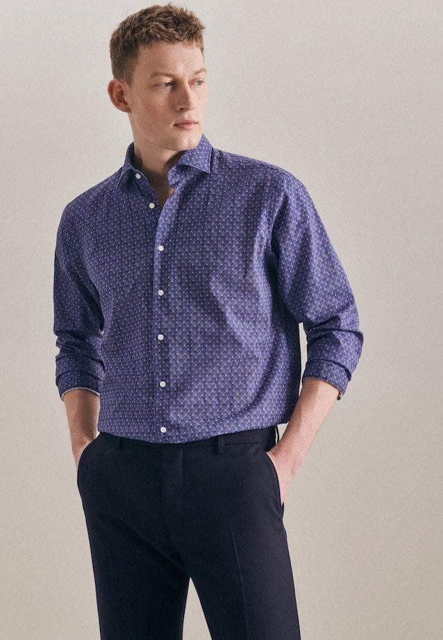 Easy-iron Leinen Business Shirt in Regular with Kent-Collar in Medium blue |  Seidensticker Onlineshop