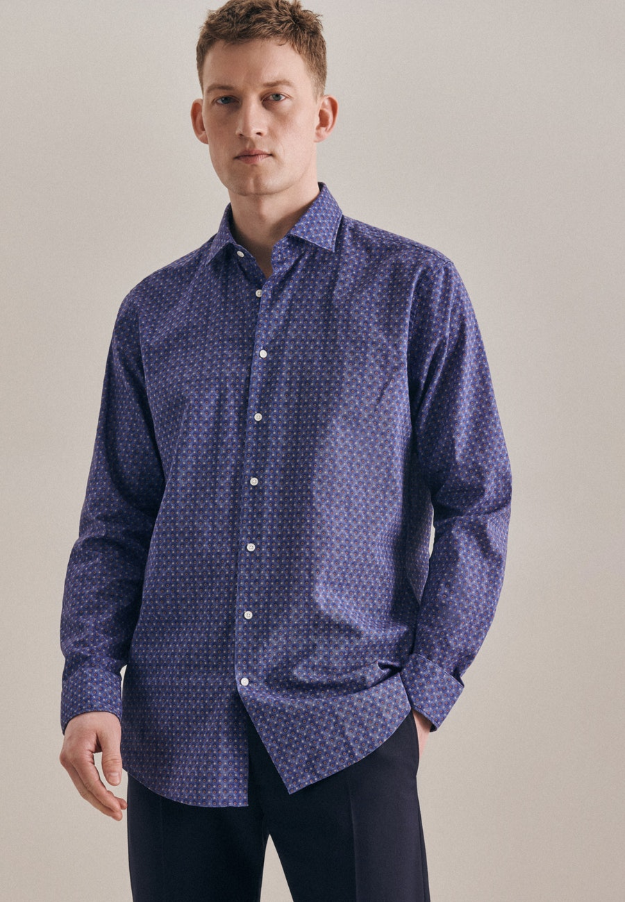Bügelleichtes Leinen Business Hemd in Regular mit Kentkragen in Mittelblau |  Seidensticker Onlineshop