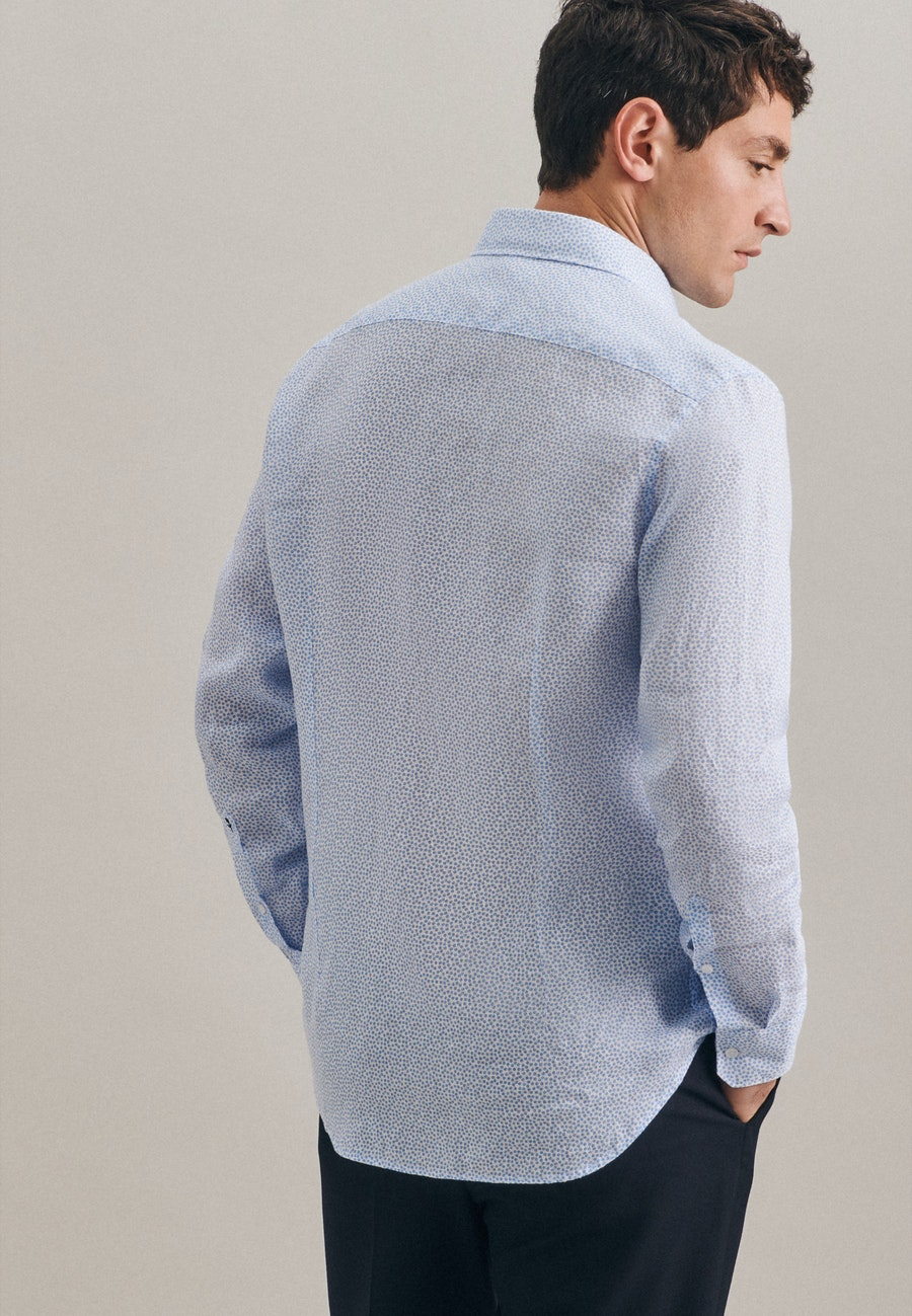 Easy-iron Leinen Business Shirt in Shaped with Kent-Collar in Turquoise |  Seidensticker Onlineshop