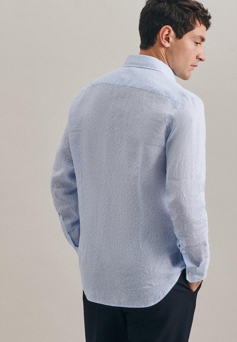 Leinen Leinenhemd in Shaped mit Kentkragen in Türkis/Petrol |  Seidensticker Onlineshop