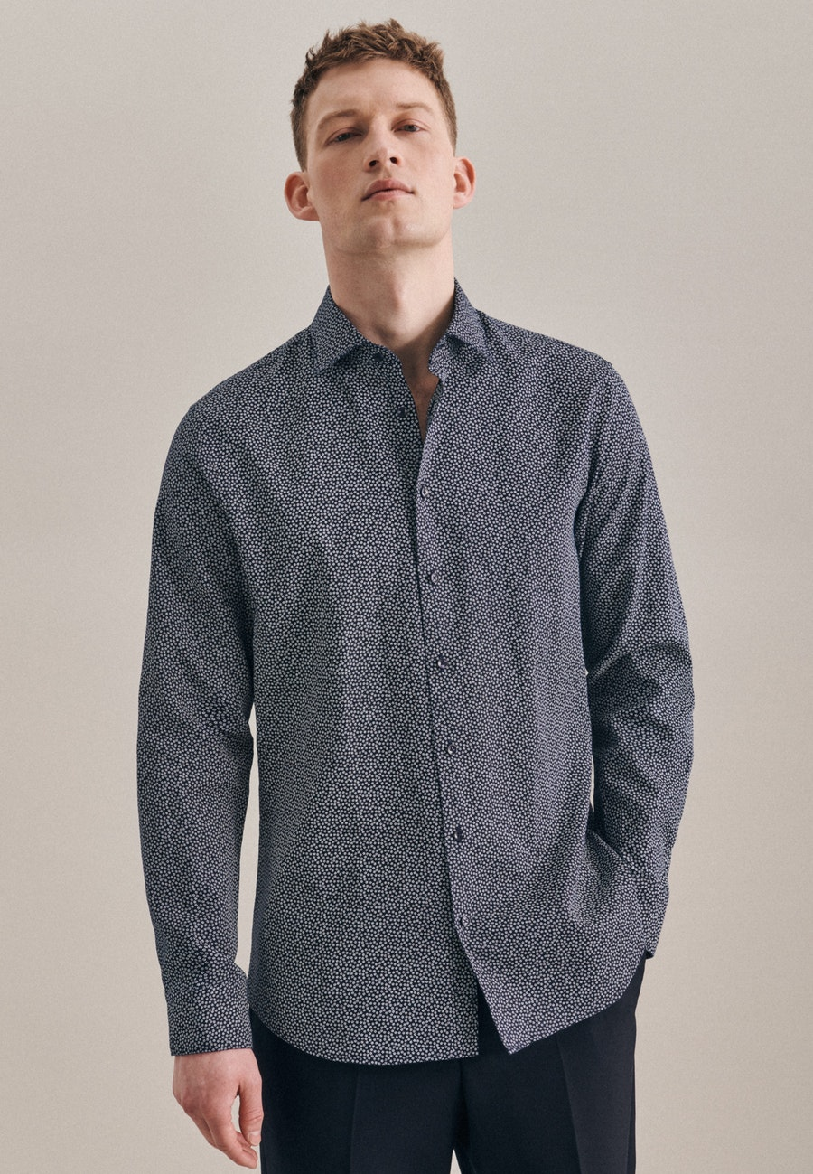 Bügelleichtes Leinen Business Hemd in Shaped mit Kentkragen in Dunkelblau    Seidensticker Onlineshop