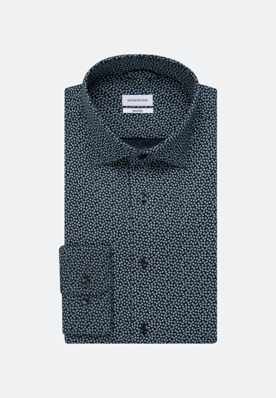 Easy-iron Leinen Business Shirt in Shaped with Kent-Collar in Dark blue |  Seidensticker Onlineshop