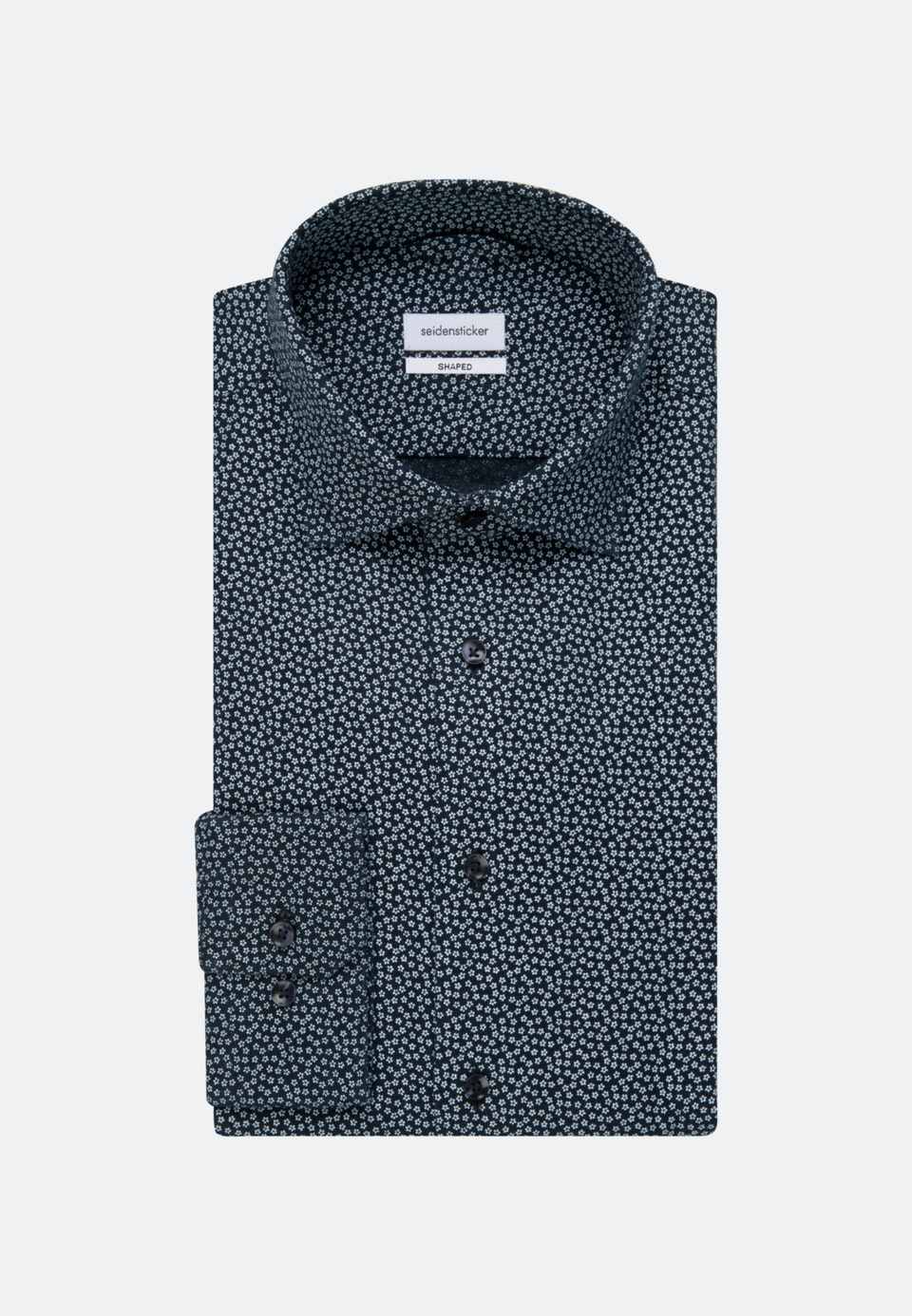 Easy-iron Linen Business Shirt in Shaped with Kent-Collar in Dark blue |  Seidensticker Onlineshop