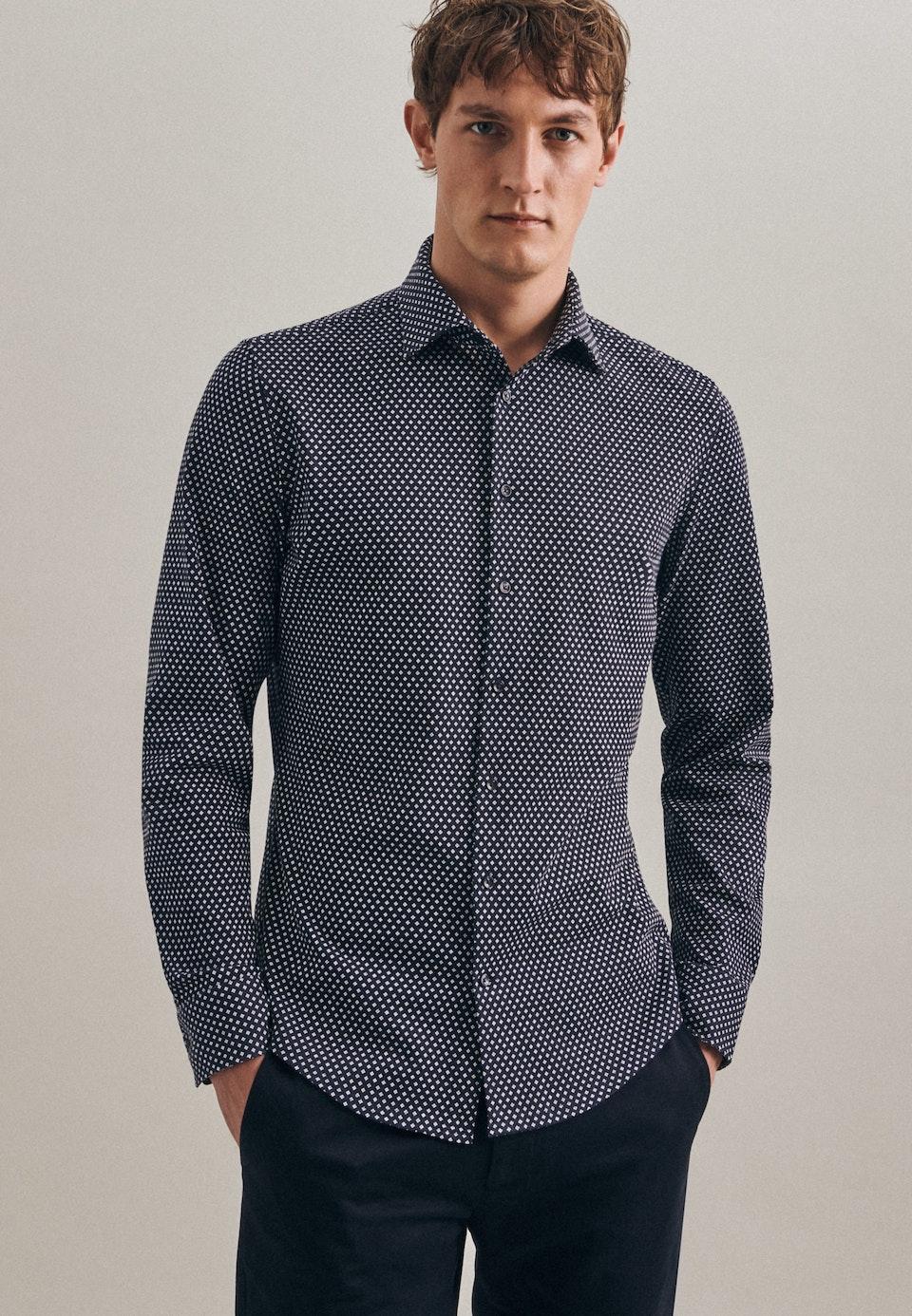 Jersey Business Shirt in Slim with Kent-Collar in Dark blue    Seidensticker Onlineshop