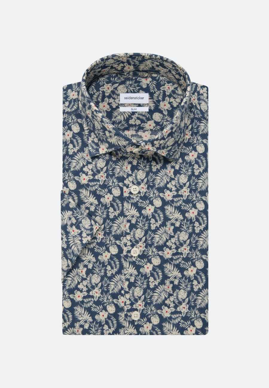 Bügelleichtes Leinen Kurzarm Business Hemd in Slim mit Kentkragen in Braun    Seidensticker Onlineshop
