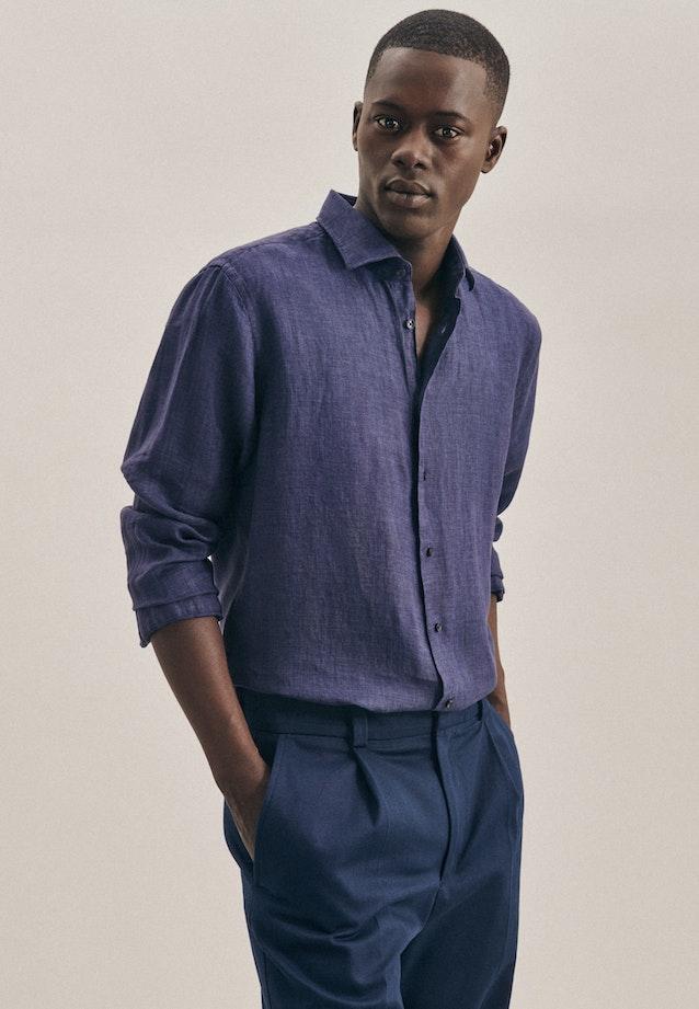 Easy-iron Leinen Business Shirt in Regular with Kent-Collar in Dark blue |  Seidensticker Onlineshop