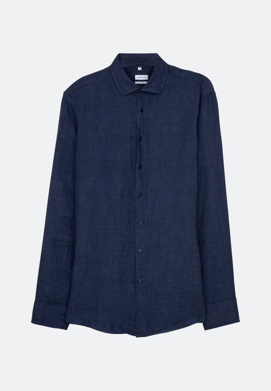 Linen Linen shirt in Regular with Kent-Collar in Dark blue |  Seidensticker Onlineshop