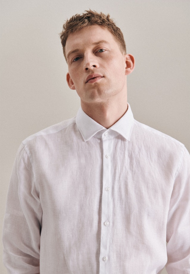 Easy-iron Leinen Business Shirt in Regular with Kent-Collar in White |  Seidensticker Onlineshop