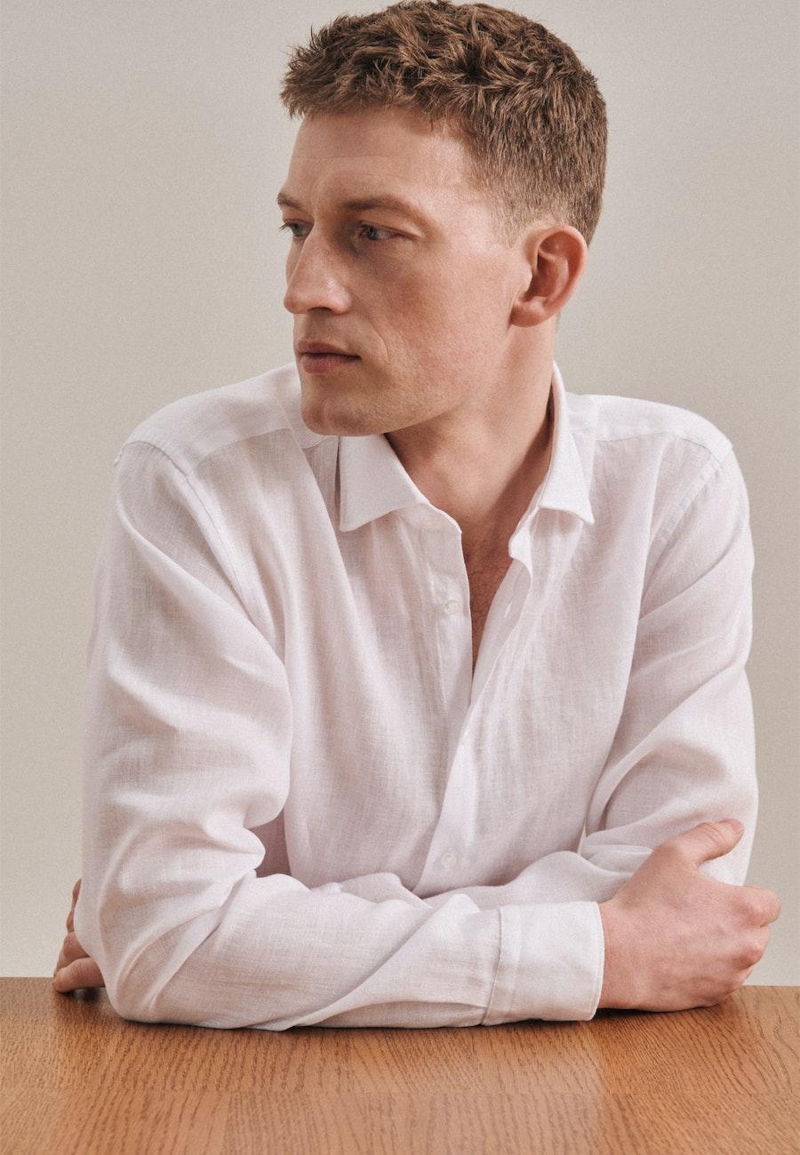 Leinen Leinenhemd in Regular mit Kentkragen in Weiß    Seidensticker Onlineshop
