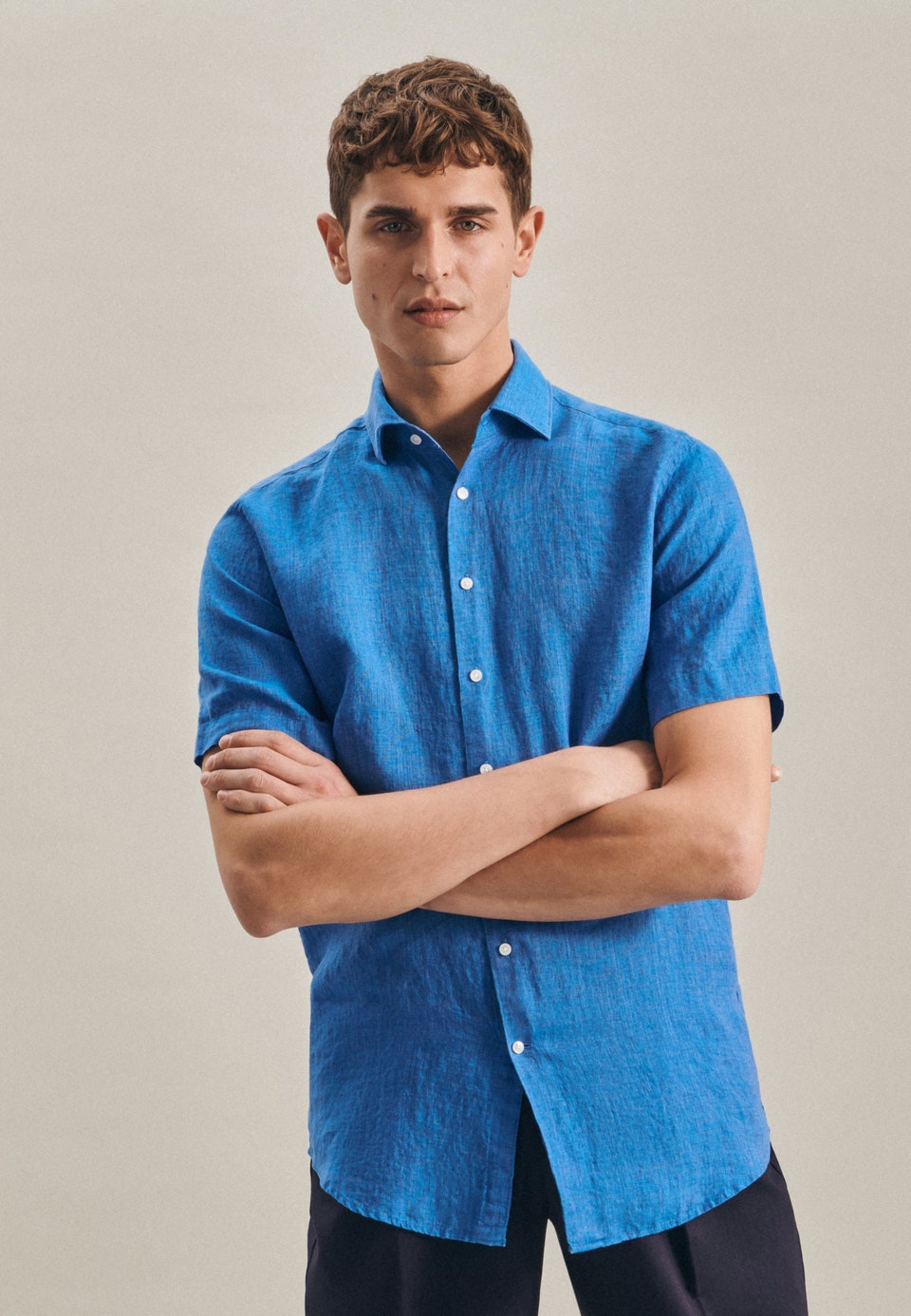 Linen Short sleeve Linen shirt in Regular with Kent-Collar in Turquoise |  Seidensticker Onlineshop
