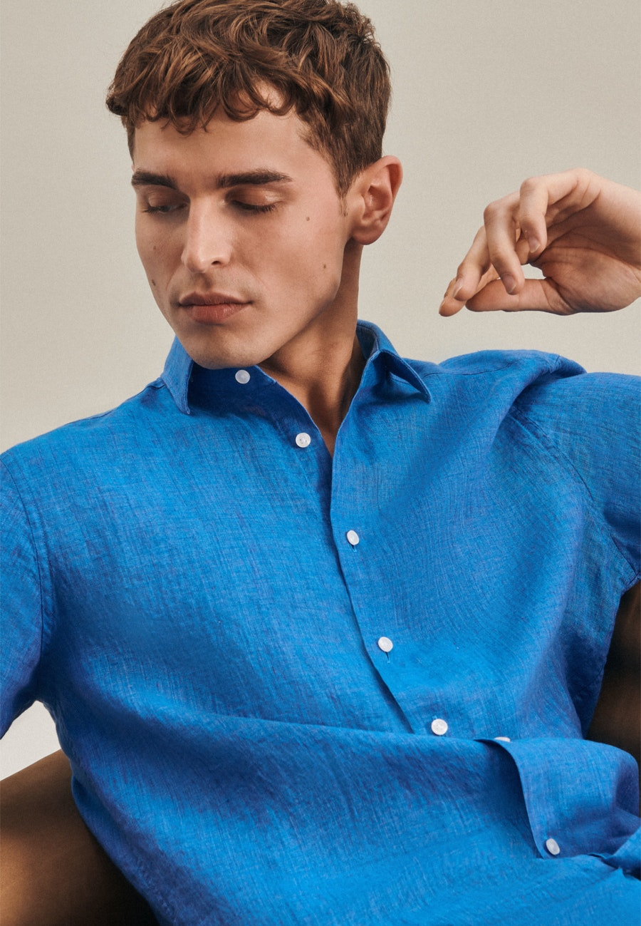 Easy-iron Leinen Short sleeve Business Shirt in Regular with Kent-Collar in Turquoise |  Seidensticker Onlineshop