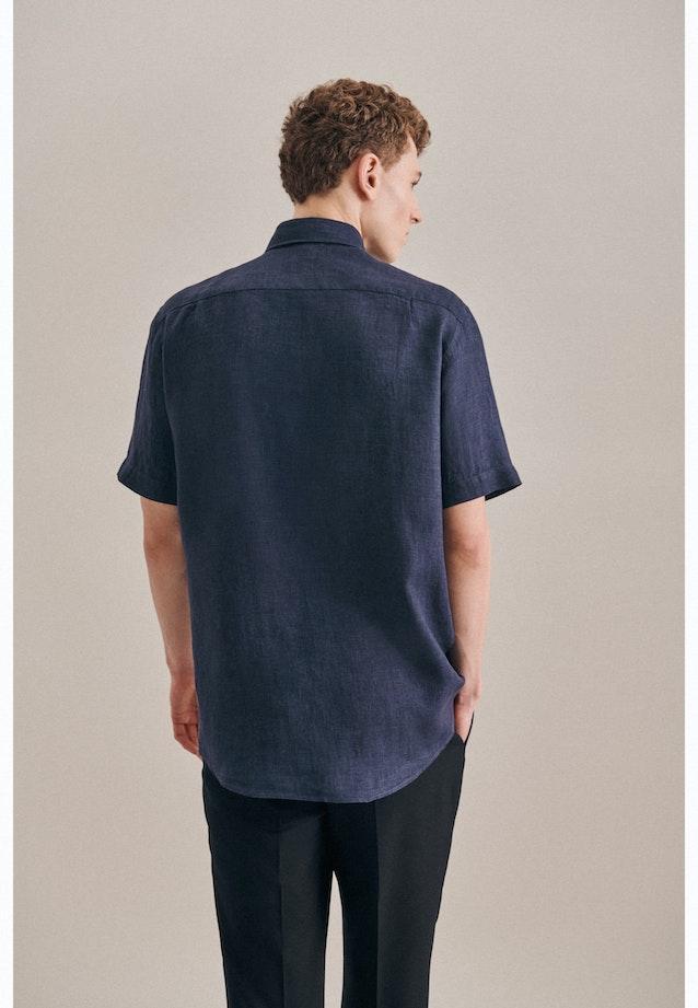 Easy-iron Leinen Short sleeve Business Shirt in Regular with Kent-Collar in Dark blue |  Seidensticker Onlineshop