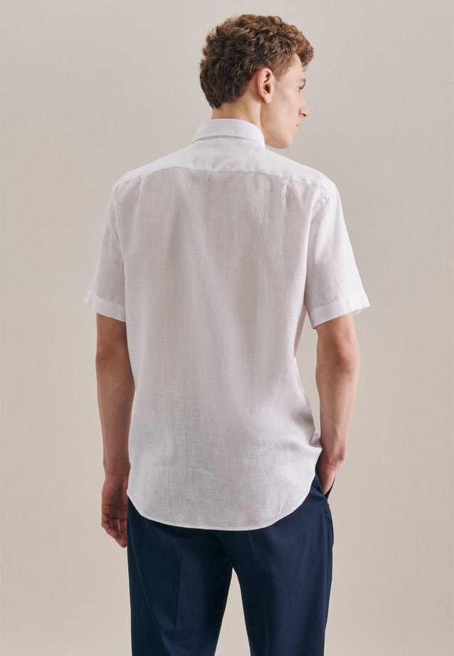 Easy-iron Leinen Short sleeve Business Shirt in Regular with Kent-Collar in White |  Seidensticker Onlineshop