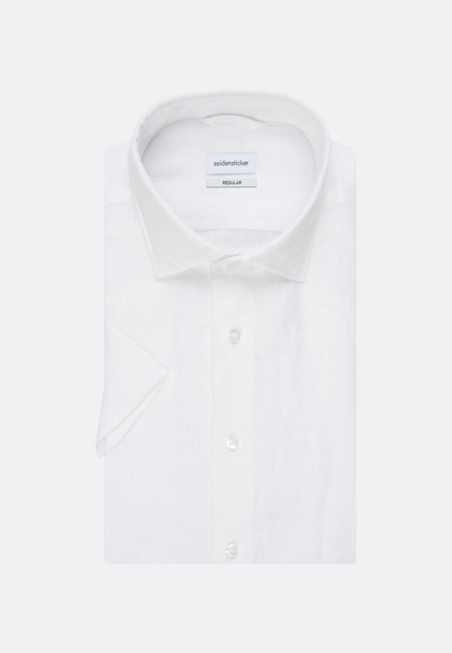 Bügelleichtes Leinen Kurzarm Business Hemd in Regular mit Kentkragen in Weiß |  Seidensticker Onlineshop