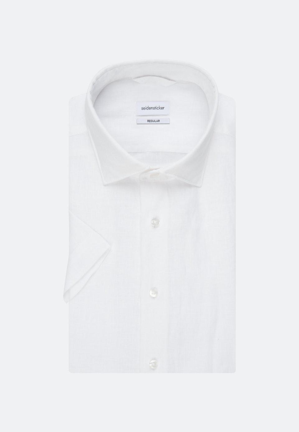 Leinen Kurzarm Leinenhemd in Regular mit Kentkragen in Weiß |  Seidensticker Onlineshop