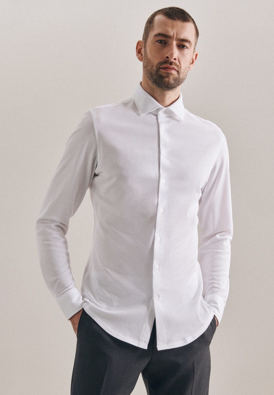 Jersey Business Shirt in Shaped with Kent-Collar in White |  Seidensticker Onlineshop