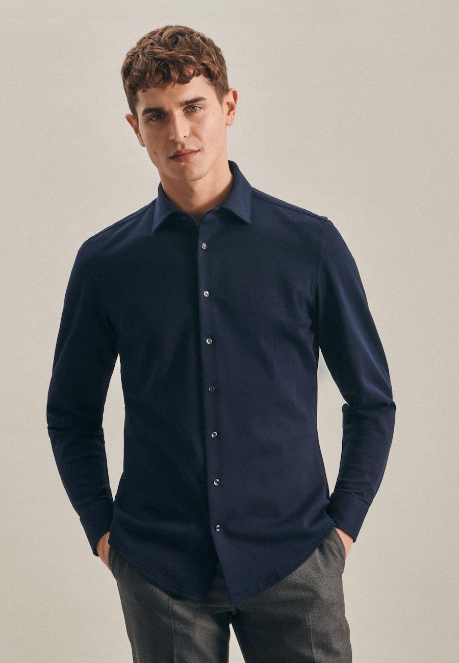 Jersey Business Shirt in Shaped with Kent-Collar in Dark blue    Seidensticker Onlineshop