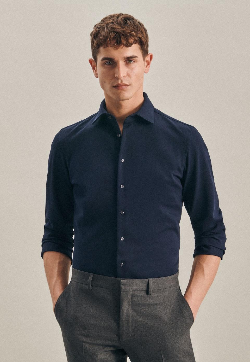 Jersey Business Shirt in Shaped with Kent-Collar in Dark blue |  Seidensticker Onlineshop