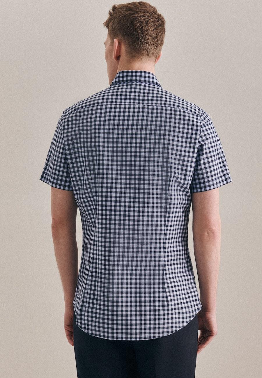 Popeline Kurzarm Business Hemd in Slim mit Button-Down-Kragen in Hellblau |  Seidensticker Onlineshop