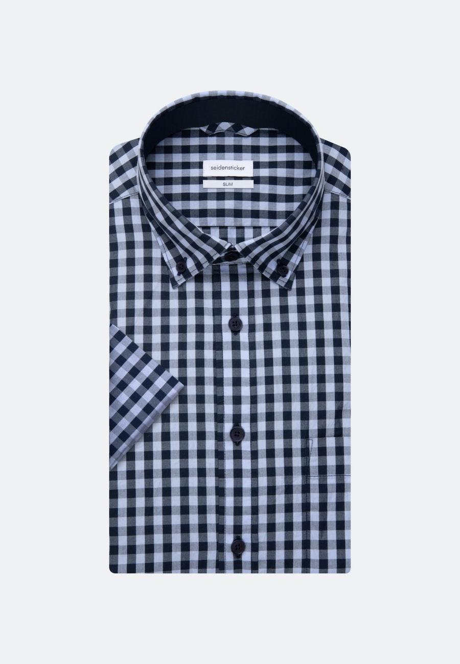 Bügelleichtes Popeline Kurzarm Business Hemd in Slim mit Button-Down-Kragen in Hellblau    Seidensticker Onlineshop