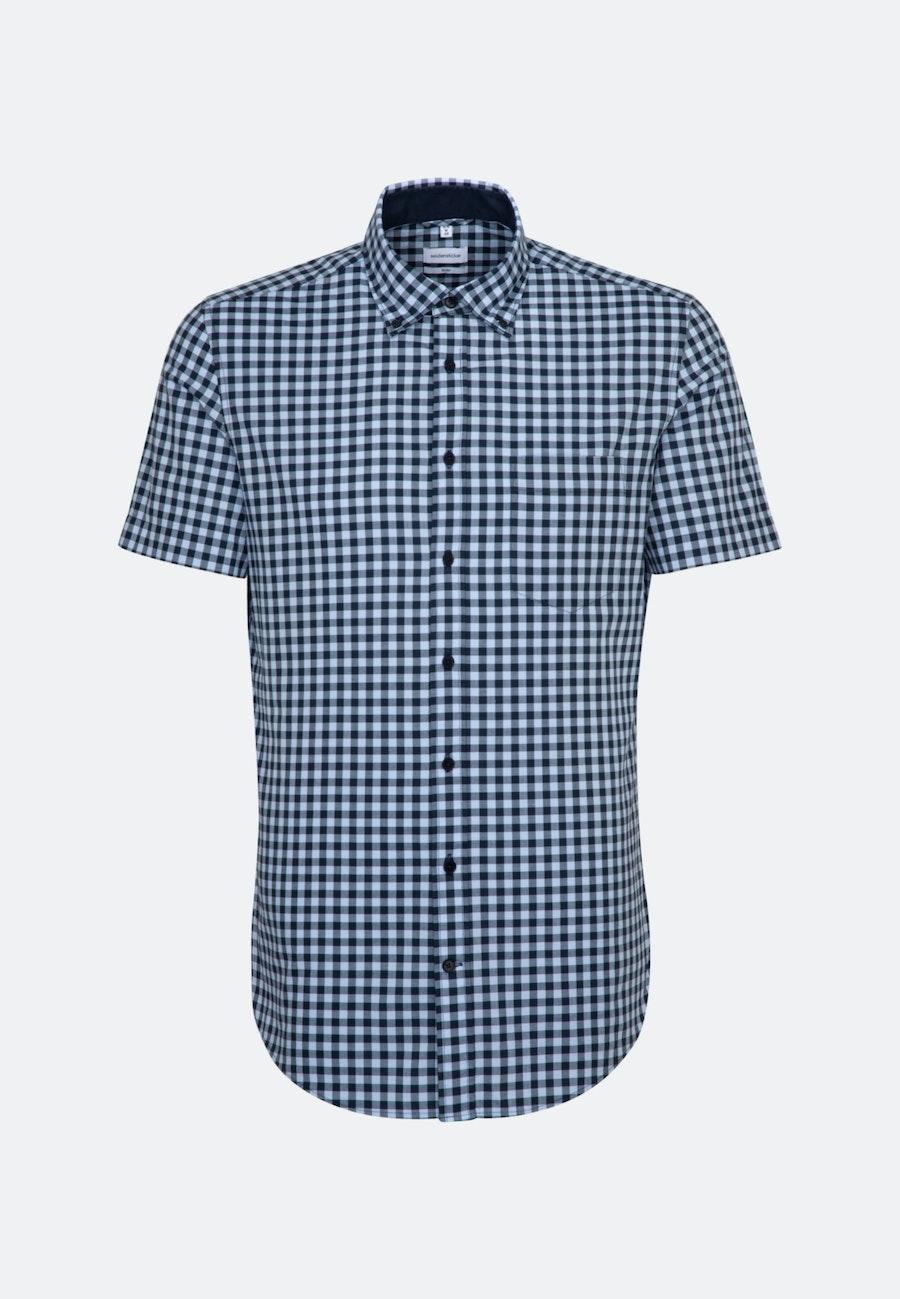 Easy-iron Popeline Short sleeve Business Shirt in Slim with Button-Down-Collar in Light blue    Seidensticker Onlineshop