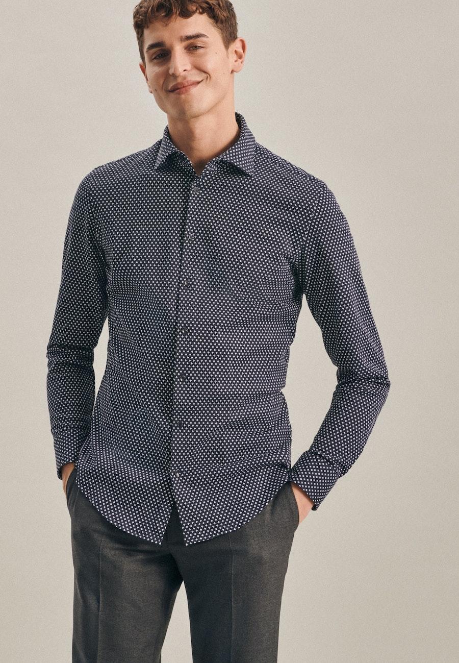 Jerseyhemd in Shaped mit Kentkragen in Dunkelblau |  Seidensticker Onlineshop