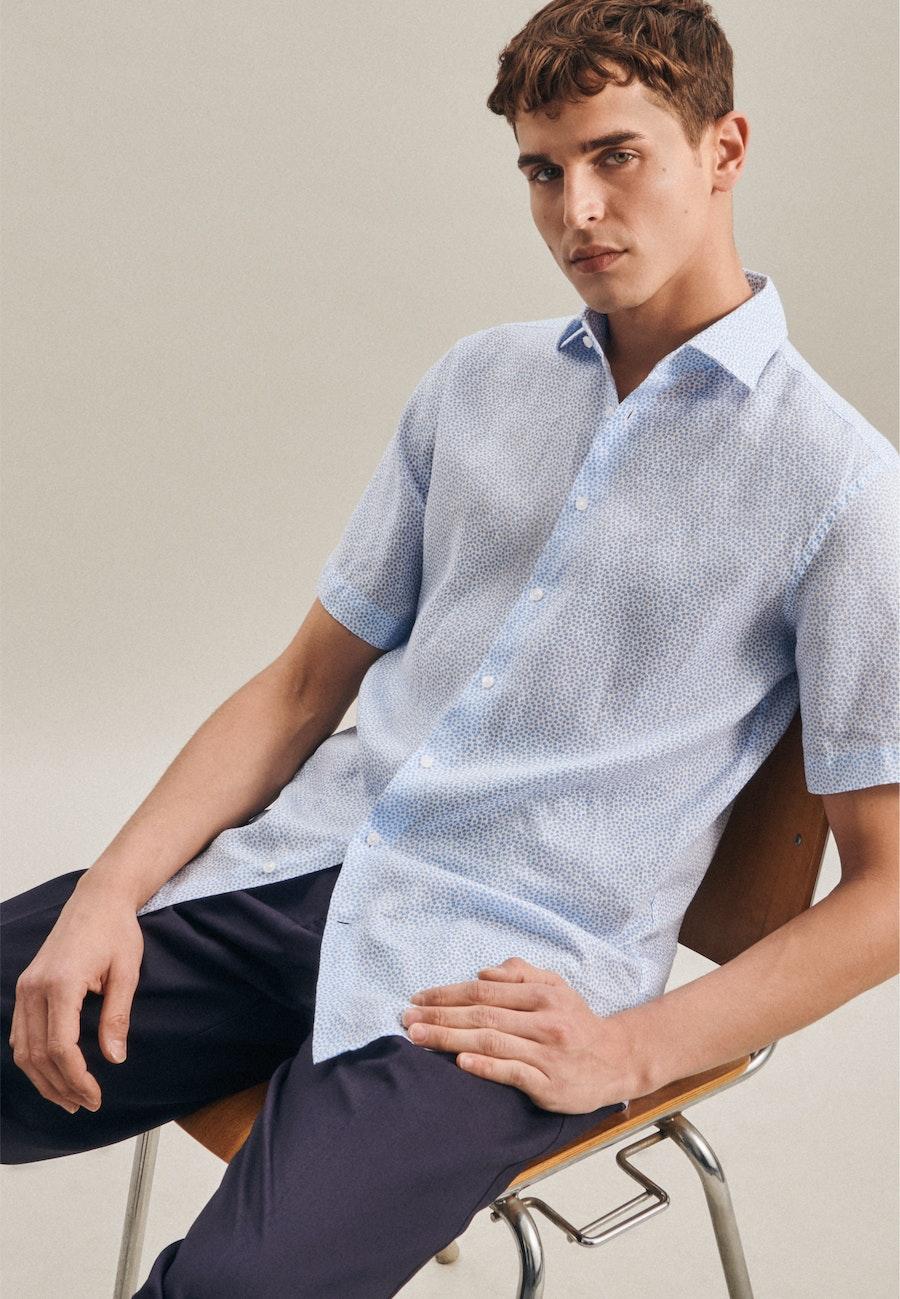 Leinen Kurzarm Leinenhemd in Regular mit Kentkragen in Türkis/Petrol    Seidensticker Onlineshop