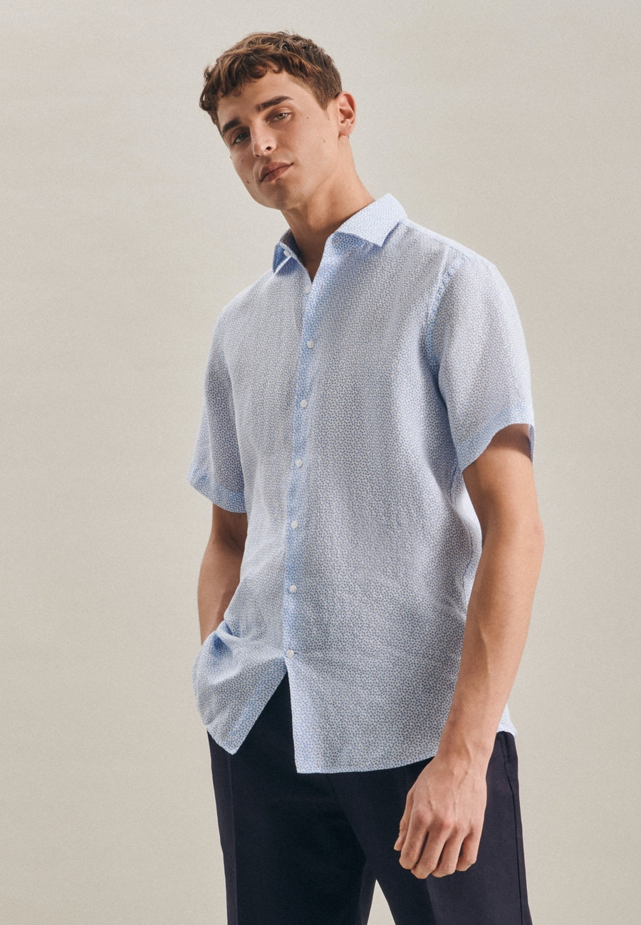 Easy-iron Linen Short sleeve Business Shirt in Regular with Kent-Collar in Turquoise |  Seidensticker Onlineshop