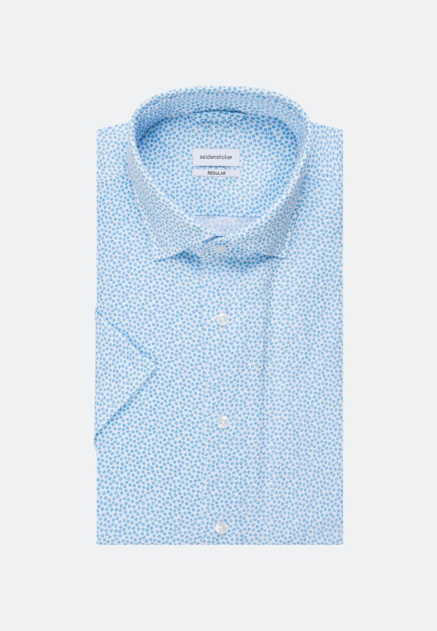 Bügelleichtes Leinen Kurzarm Business Hemd in Regular mit Kentkragen in Türkis/Petrol |  Seidensticker Onlineshop