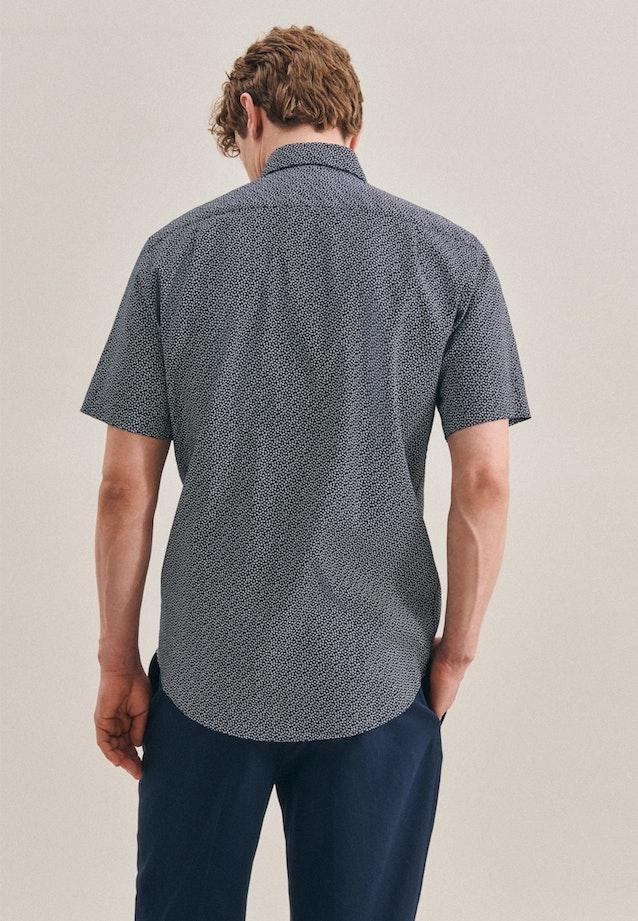 Bügelleichtes Leinen Kurzarm Business Hemd in Regular mit Kentkragen in Dunkelblau |  Seidensticker Onlineshop