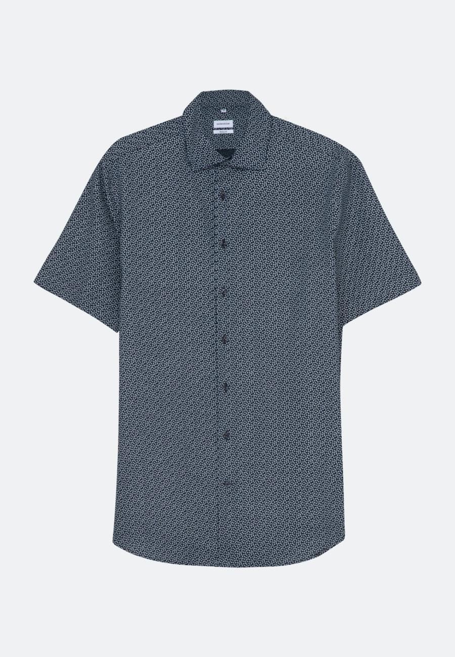 Leinen Kurzarm Leinenhemd in Regular mit Kentkragen in Dunkelblau |  Seidensticker Onlineshop