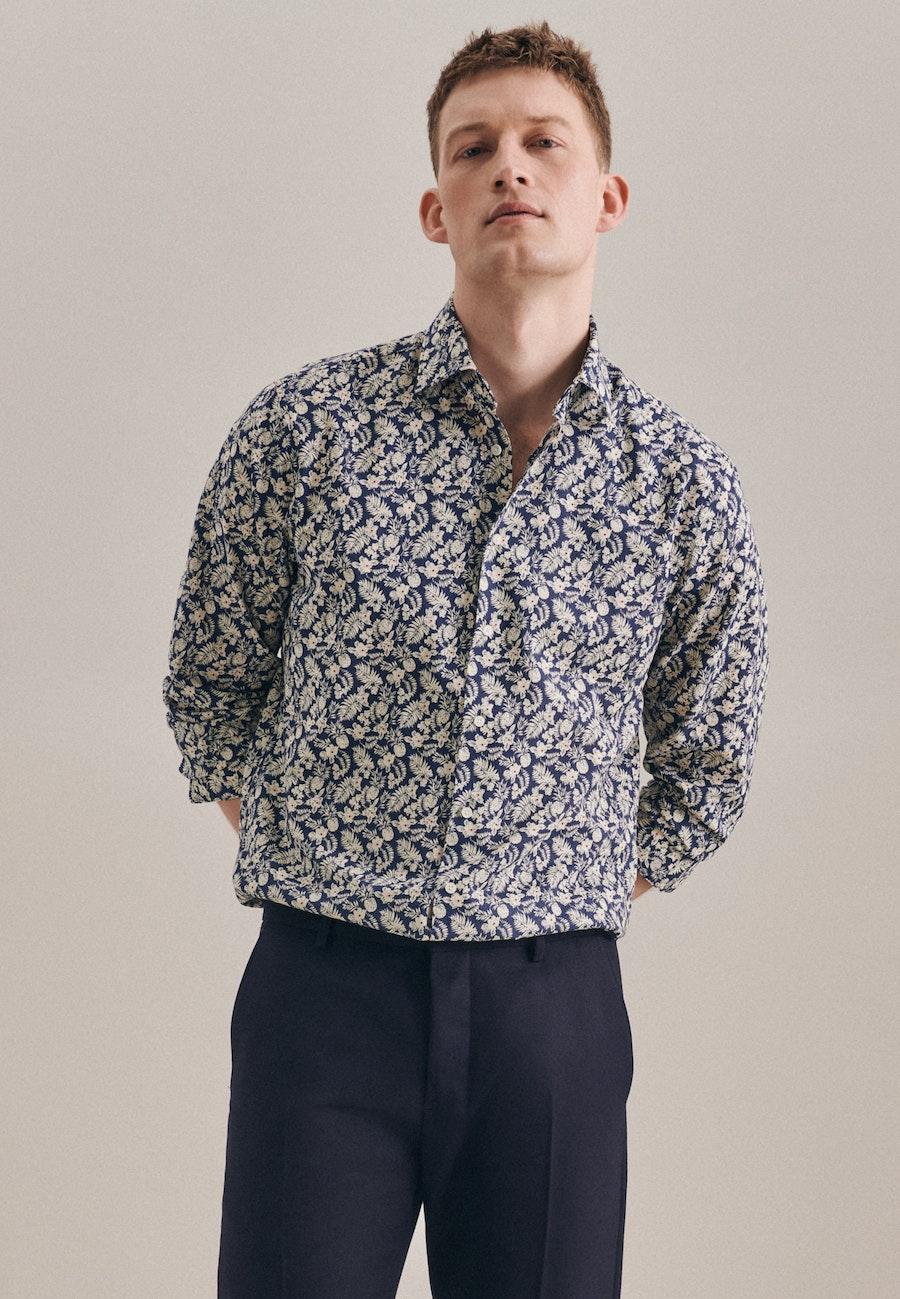 Bügelleichtes Leinen Business Hemd in Shaped mit Kentkragen in Braun    Seidensticker Onlineshop
