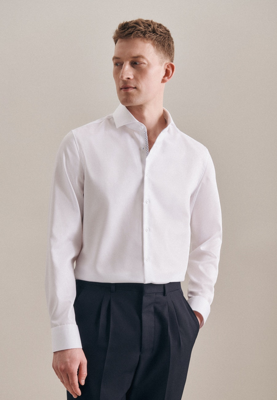 Non-iron Twill Business Shirt in X-Slim with Kent-Collar in White    Seidensticker Onlineshop