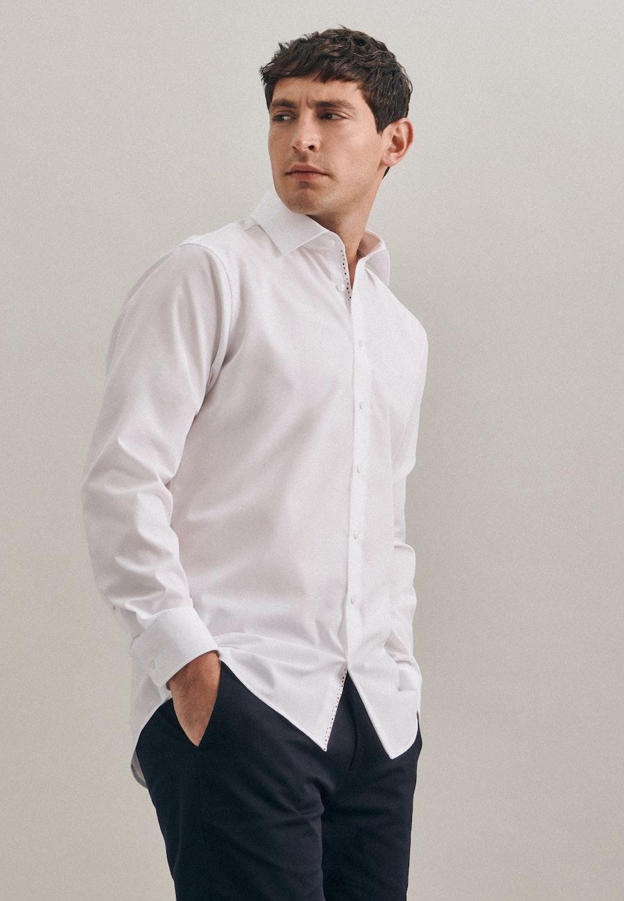 Non-iron Struktur Business Shirt in Slim with Kent-Collar in White |  Seidensticker Onlineshop