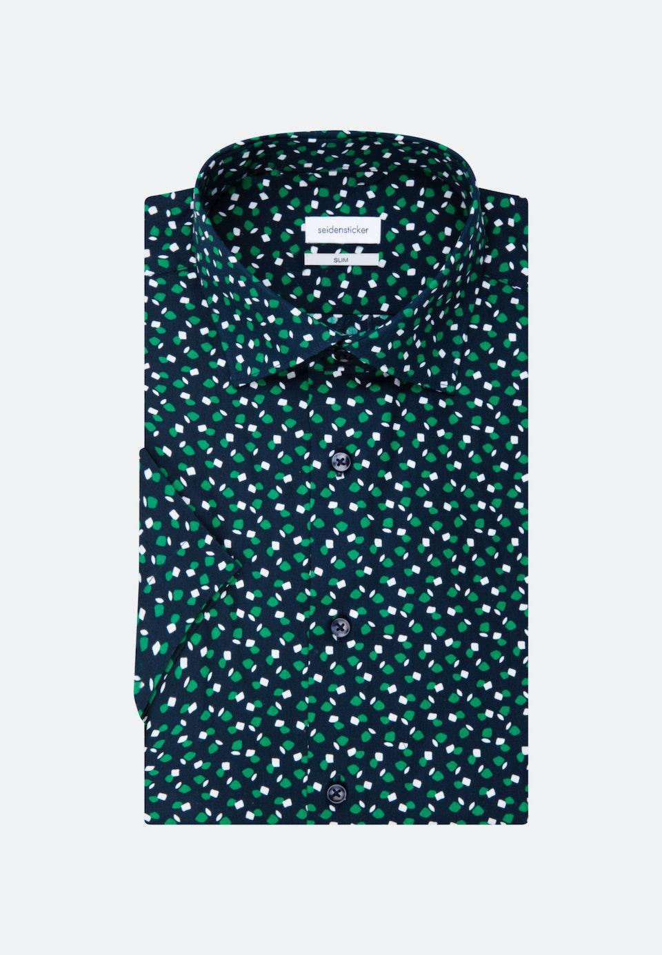 Easy-iron Poplin Short sleeve Business Shirt in Slim with Kent-Collar in Green    Seidensticker Onlineshop