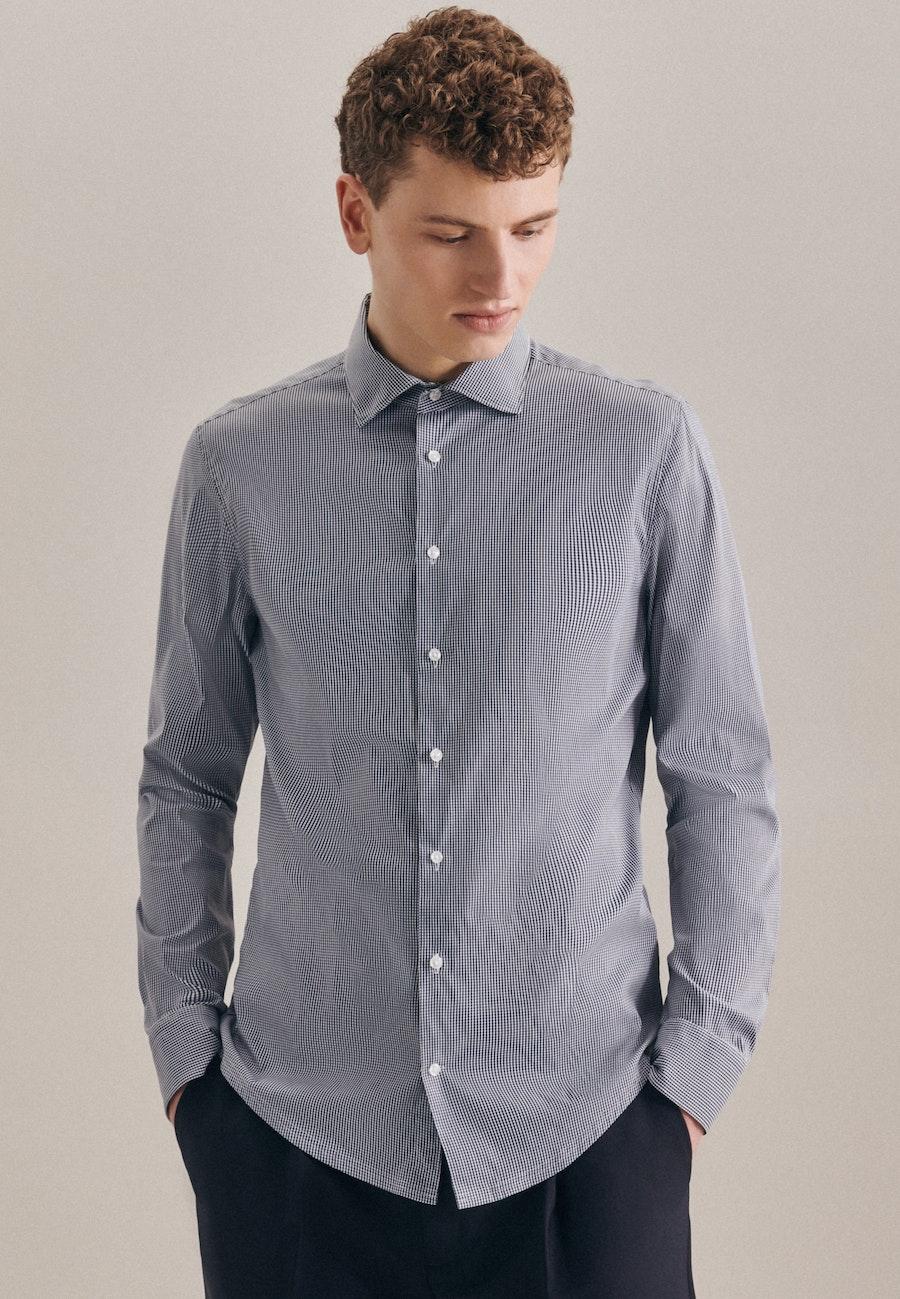 Easy-iron Twill Business Shirt in Slim with Kent-Collar in Dark blue |  Seidensticker Onlineshop