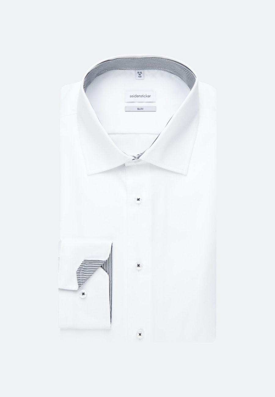 Easy-iron Twill Business Shirt in Slim with Kent-Collar in White |  Seidensticker Onlineshop