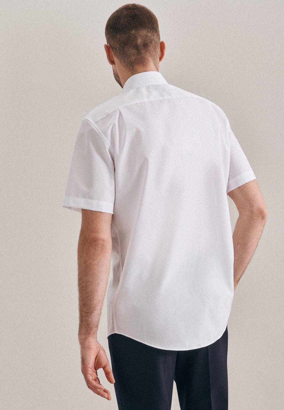 Bügelfreies Popeline Kurzarm Business Hemd in Regular mit Kentkragen in Weiß    Seidensticker Onlineshop