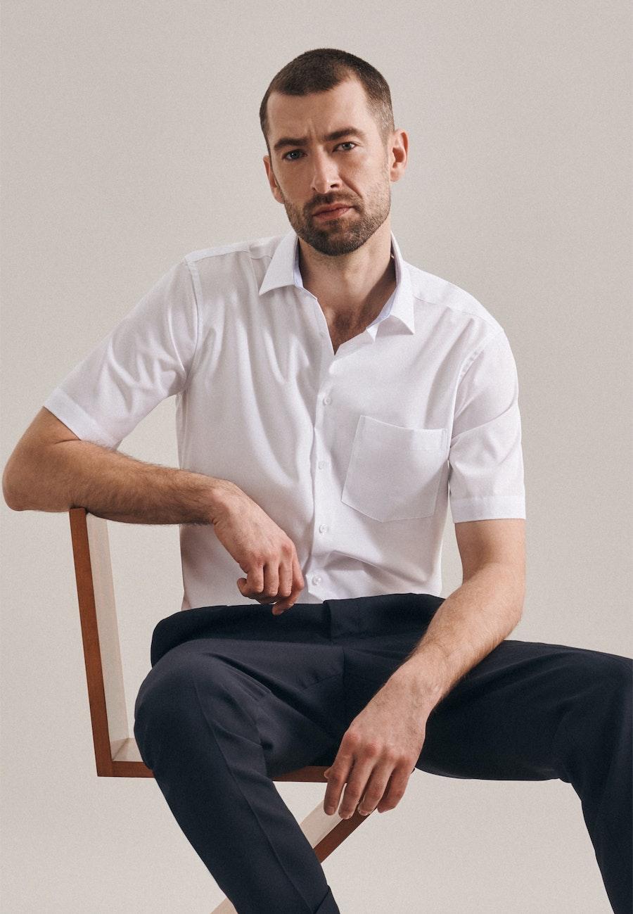 Non-iron Poplin Short sleeve Business Shirt in Regular with Kent-Collar in White |  Seidensticker Onlineshop