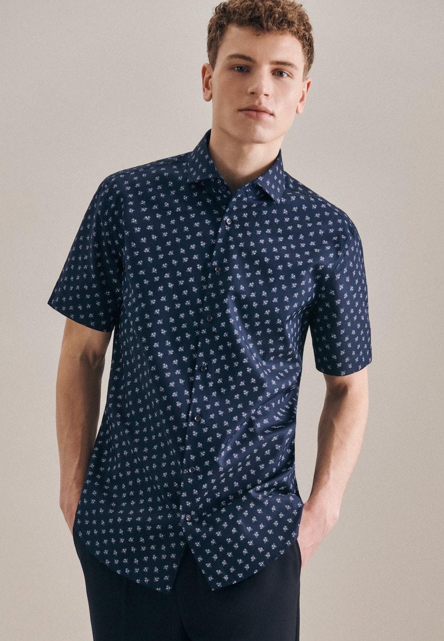 Easy-iron Oxford Short sleeve Business Shirt in Shaped with Kent-Collar in Dark blue |  Seidensticker Onlineshop