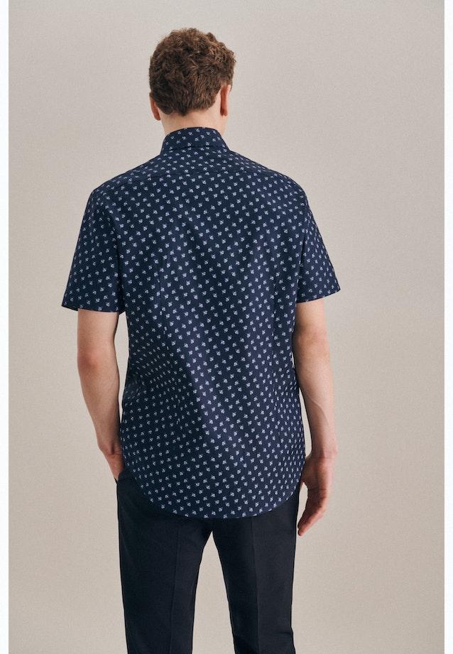 Bügelleichtes Oxford Kurzarm Business Hemd in Shaped mit Kentkragen in Dunkelblau |  Seidensticker Onlineshop