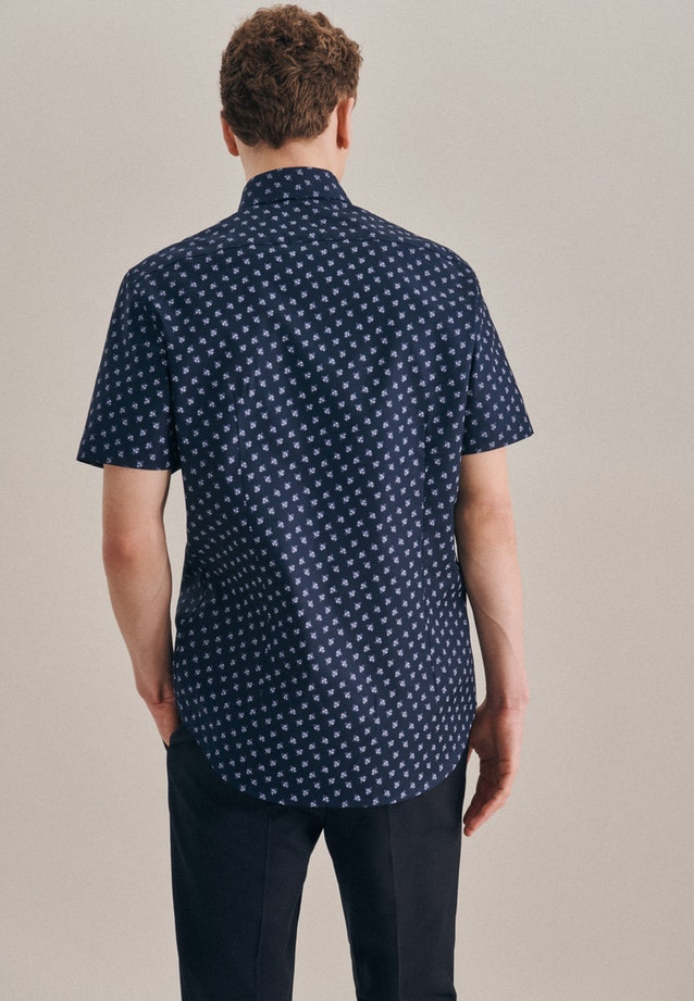 Easy-iron Oxford Short sleeve Business Shirt in Shaped with Kent-Collar in Dark blue |  Seidensticker Onlineshop